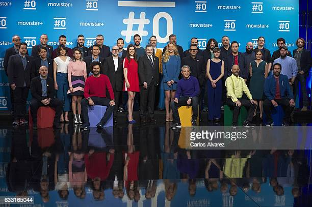 Spain Telefonica President Luis Miguel Gilperez and the cast of channel attend a photocall for the 'Movistar channel '#0' first anniversary at...