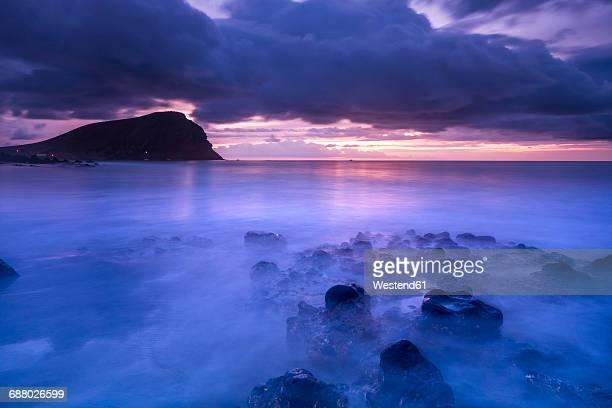 Spain, Tenerife, beach Tejita with Montana Roja at sunrise