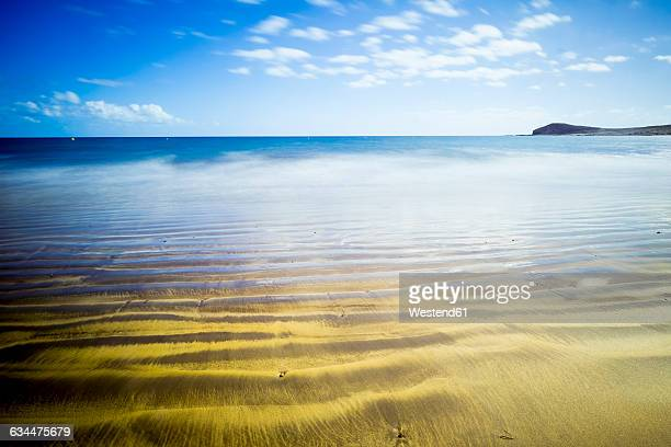 Spain, Tenerife, golden beach on the ocean
