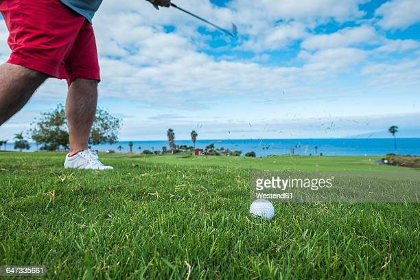 spain, tenerife, golf player at costa adeje - teeing off stock pictures, royalty-free photos & images