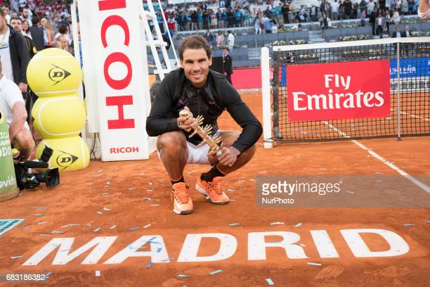 Spain tennis player Rafael Nadal celebrates her victory during the Mutua Madrid Open final match against Dominic Thiem at the Magic Box in Madrid...