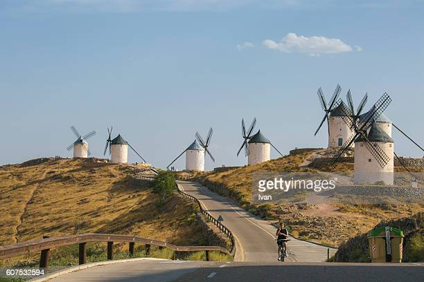 spain, toledo, castilla la mancha, consuegra, windmills - traditional windmill stock photos and pictures