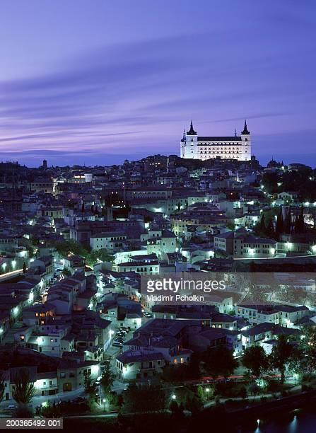 Spain, Toledo, skyline and Alcazar, dusk