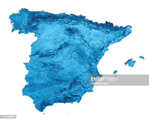 Spain Topographic Map Isolated