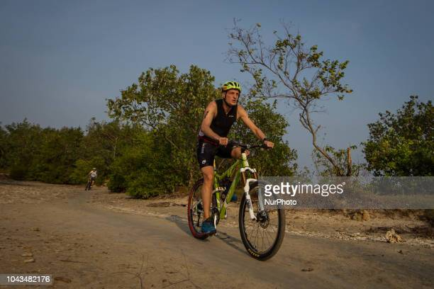 Spain triathlon athletes Carlos Monterde during 2018 Rhino Cross Triathlon at Tanjung Lesung Banten Indonesia on September 30 2018 He take 5th place...