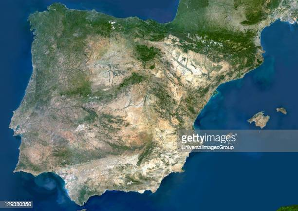Spain true colour satellite image Spain takes up the majority of the Iberian peninsula and includes the Balearic Islands The southwestern section of...