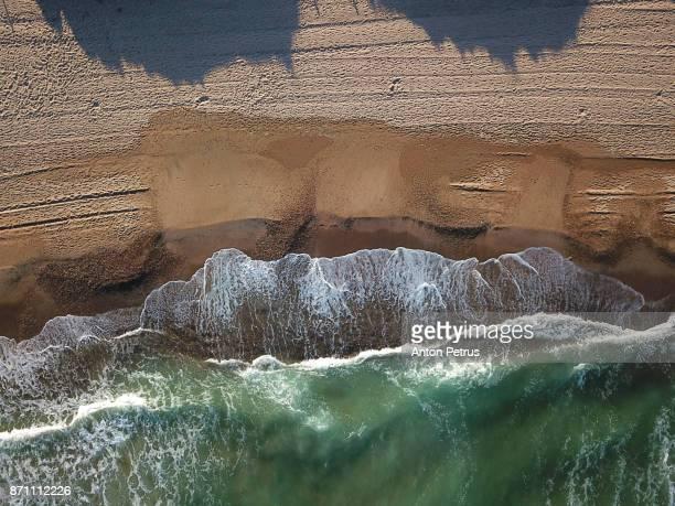 spain, valencia, playa el saler, mediterranean sea. drone photo. - alicante fotografías e imágenes de stock