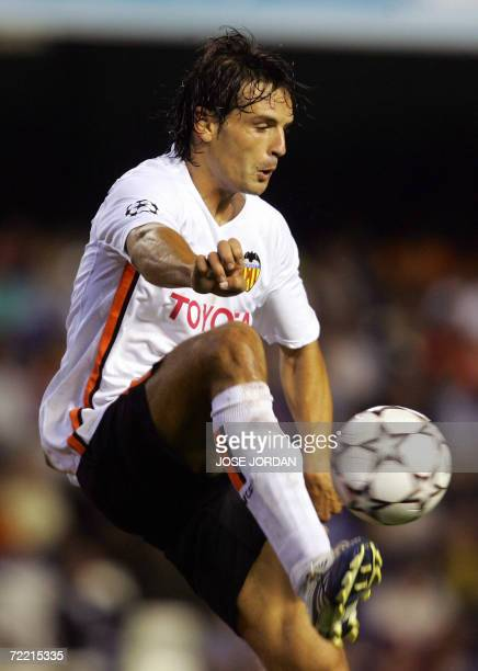 Valencia's Fernando Morientes stops the ball during a Group D Champions League football match against Shaktar Donetsk at the Mestalla stadium in...