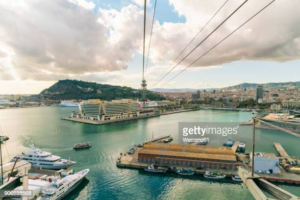 Spain, view on harbor and city of Barcelona from above