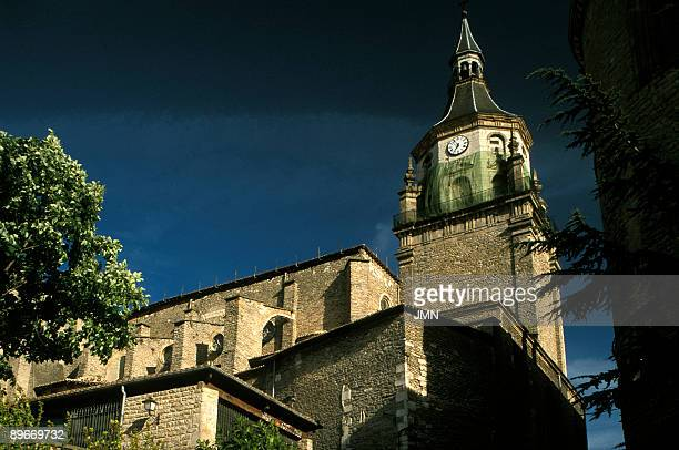 Spain Vitoria Old city Cathedral of Santa Maria Tower and north facade