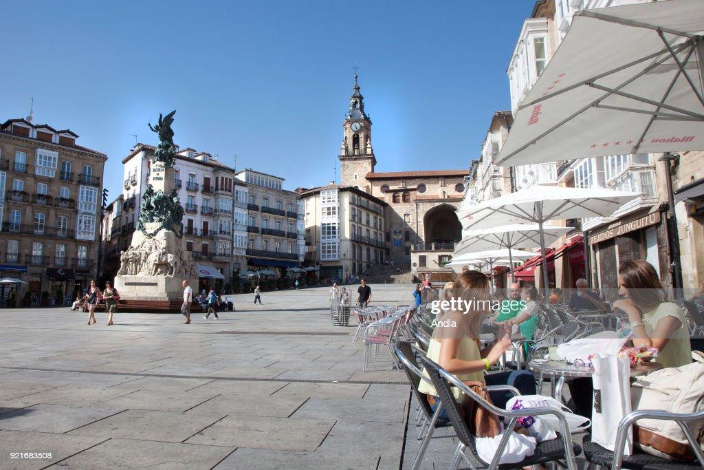 Vitoria-Gasteiz, capital city of the province of Araba (or Alava) and of the Basque Autonomous Community. Virgen Blanca Square (Plaza de la Virgen Blanca).
