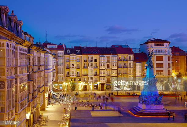 spain, vitoria-gastiez, town square at dusk - vitoria spain stock pictures, royalty-free photos & images