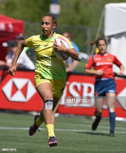 Spain vs Australia in HSBC Canada Women's Sevens Rugby action at Westhills Stadium in Langford BC May 27 2017 / AFP PHOTO / Don MacKinnon