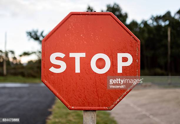 Spain, wet stop sign