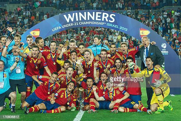 Spain winners Under 21 championship during the UEFA Euro U21 final match between Italy U21 and Spain U21 on June 18 2013 at the Teddy stadium in...
