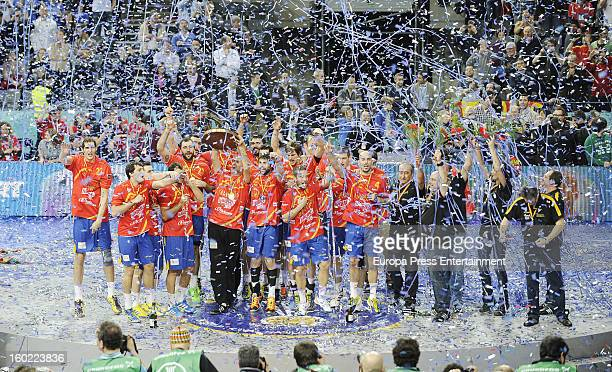 Spain wins the Men's Handball World Championship 2013 final match between Denmark at Palau Sant Jordi on January 27 2013 in Barcelona Spain