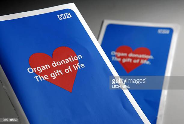 SILVA Spainhealthorgan This file picture dated January 16 2008 shows two organ donor application leaflets shown in London to illustrate the current...