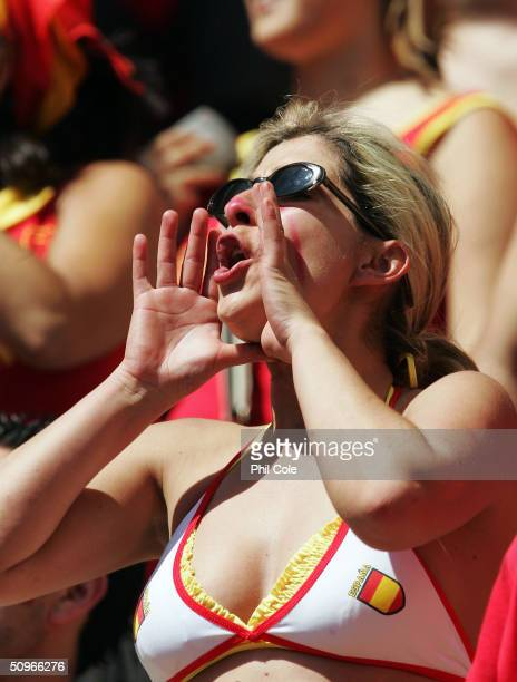 Spainish fan cheers her team during the UEFA Euro 2004 Group A match between Greece and Spain at the Estadio do Bessa Sec XXI on June 16 2004 in...
