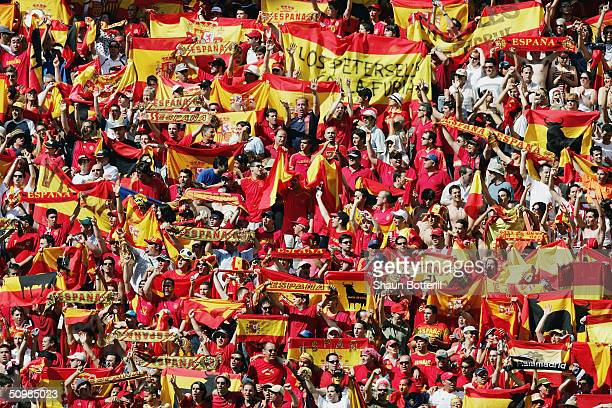 Spainish fans at the UEFA Euro 2004 Group A match between Greece and Spain on June 16 2004 at the Estadio do Bessa Sec XXI in Porto Portugal