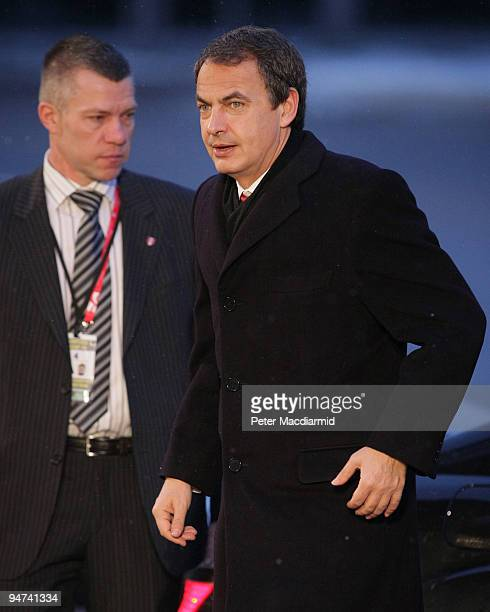 Spainish Prime Minister Jose Luis Rodriguez Zapatero arrives for the final day of the UN Climate Change Conference on December 18 2009 in Copenhagen...