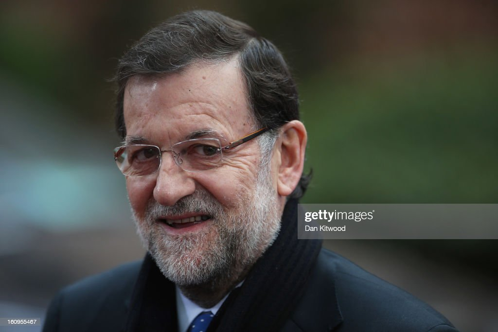 Spainish Prime Minister Mariano Rajoy arrives back at the headquarters of the Council of the European Union on February 8, 2013 in Brussels, Belgium. EU leaders have set out the framework for agreeing on a 2014-2020 EU budget during talks that continued through the night at the European Council Meetings in Brussels. The historic deal would see 34.4 billion Euros of EU spending cuts over the next 7 year period.