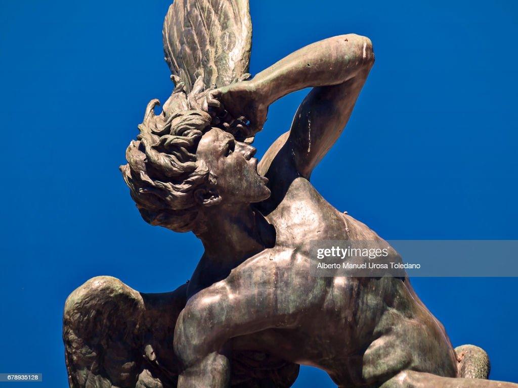 Spain,Madrid, Retiro Park, Fountain of the Fallen Angel : Stock Photo