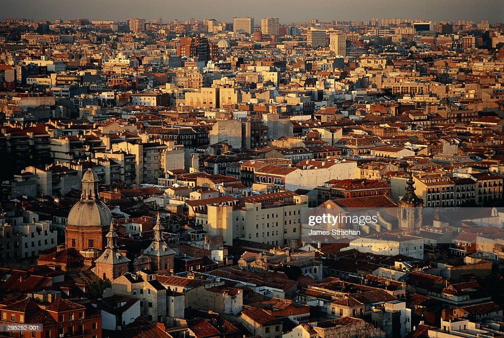 Spain,Madrid,overview looking north of the Gran Via,late afternoon : Stock Photo