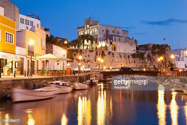 spain,menorca, mahon, view of city hall at dusk - ミノルカ ストックフォトと画像