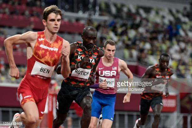 Spain's Adrian Ben Kenya's Ferguson Cheruiyot Rotich and USA's Clayton Murphy compete in the men's 800m final during the Tokyo 2020 Olympic Games at...