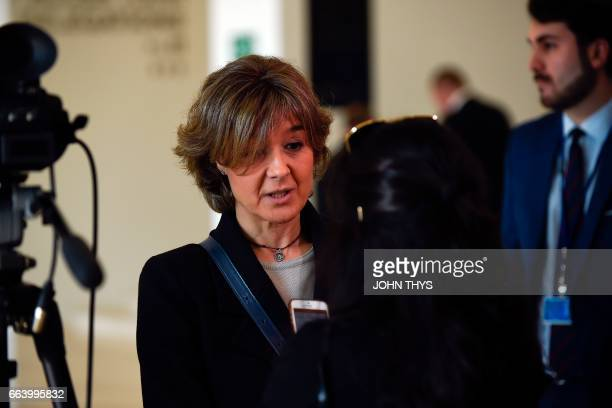 Spain's Agriculture Minister Isabel Garcia Tejerina answers a journalist during a Foreign Affairs meeting in Luxembourg on April 3 2017 / AFP PHOTO /...
