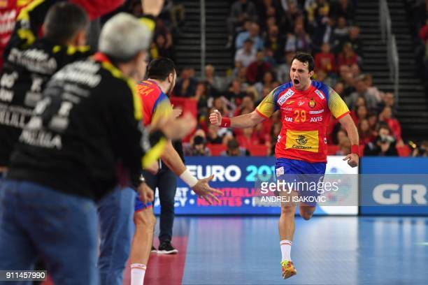Spain's Aitor Arino celebrates scoring during the final match of the Men's 2018 EHF European Handball Championship between Spain and Sweden on...