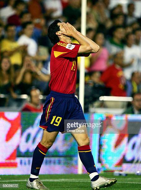 Spain's Albert Luque reacts after missing a shot at goal during a World Cup group 7 qualifier match between Spain and Bosnia and Herzegovina at the...