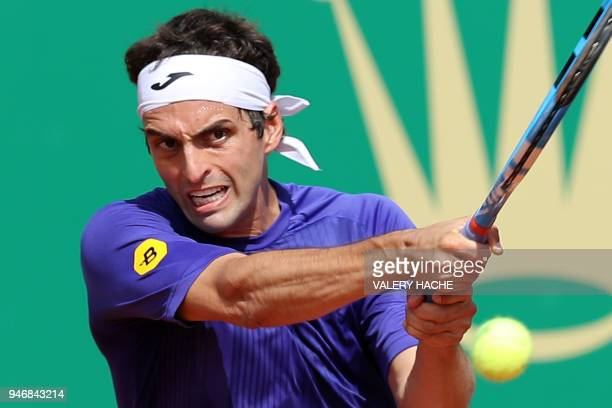 Spain's Albert Ramos Vinolas returns the ball to US Jared Donaldson during their round of 64 tennis match at the MonteCarlo ATP Masters Series...