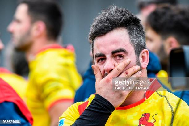 Spain's Alberto Blanco reacts after losing the rugby union match between the Black Devils Belgian national rugby team and Spain at the European...