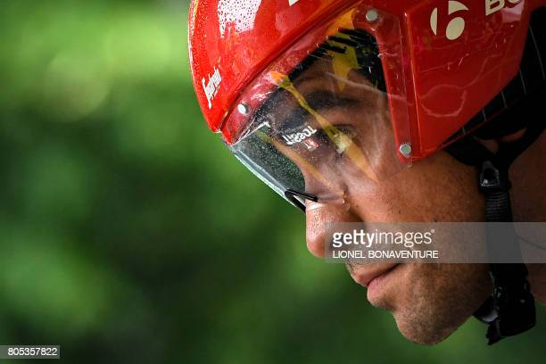 Spain's Alberto Contador concentrates prior to taking the start of a 14 km individual timetrial the first stage of the 104th edition of the Tour de...
