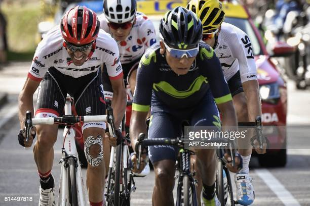 Spain's Alberto Contador France's Warren Barguil wearing the best climber's polka dot jersey Colombia's Nairo Quintana and Spain's Mikel Landa ride...