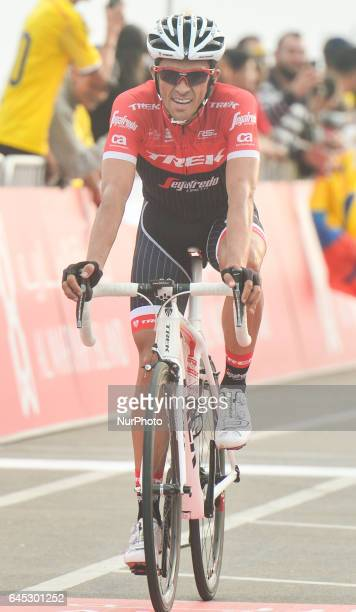 Spain's Alberto Contador from Trek Segafredo Team at the finish line of the third stage of Abu Dhabi Tour a 186km Al Maryah Island Stage from Al Ain...