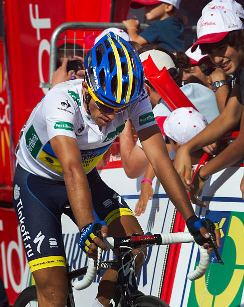 7a48a38a4 Spain s Alberto Contador of the Saxo Bank-Tinkoff Bank Team crosses the  finish line during the fourteenth stage of the Vuelta tour of Spain