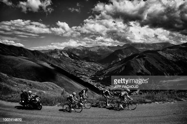 Spain's Alejandro Valverde Netherlands' Robert Gesink Russia's Ilnur Zakarin and Norway's Amund Grondahl Jansen ride a counter attack during the...