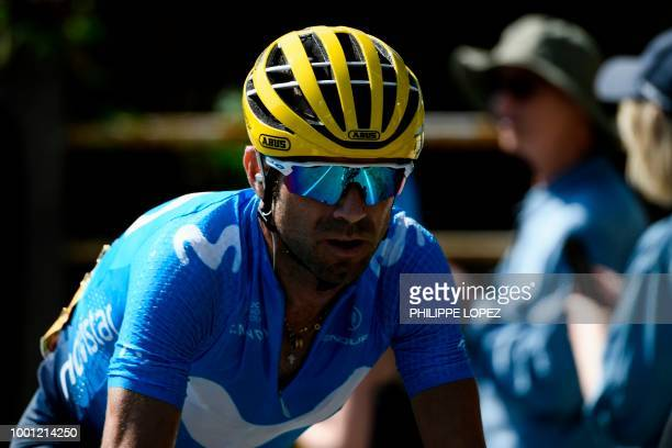 Spain's Alejandro Valverde rides during a counter attack in the eleventh stage of the 105th edition of the Tour de France cycling race between...