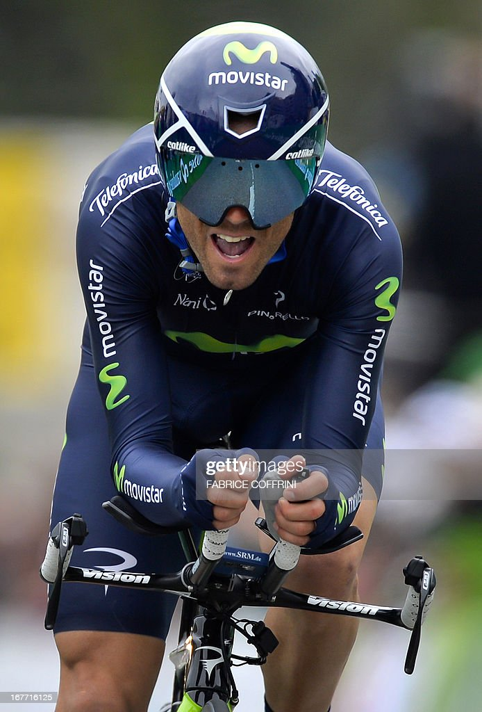 Spain's Alejandro Valverde rides during the last stage of the Tour de Romandie cycling race, a 18,7 km race against the clock, on April 28, 2013 in Geneva.