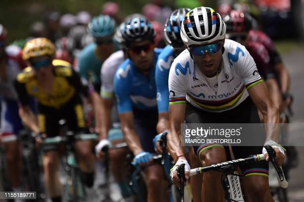 Spain's Alejandro Valverde rides during the sixth stage of the 106th edition of the Tour de France cycling race between Mulhouse and La Planche des...