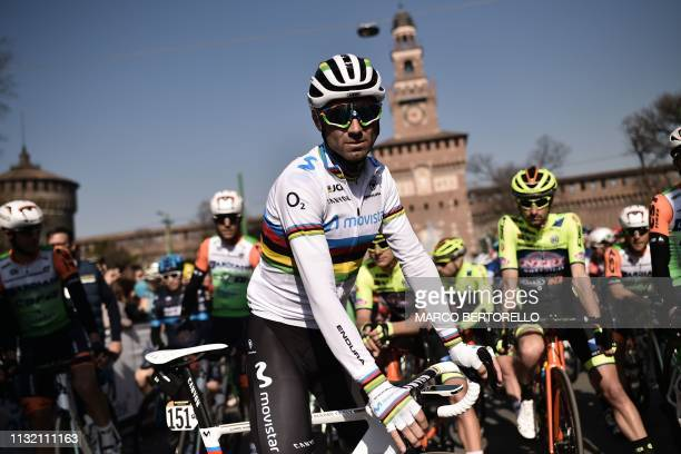 Spain's Alejandro Valverde wearing the World Champion 2018 rainbow jersey prepares to take the start of the oneday classic cycling race Milan San...