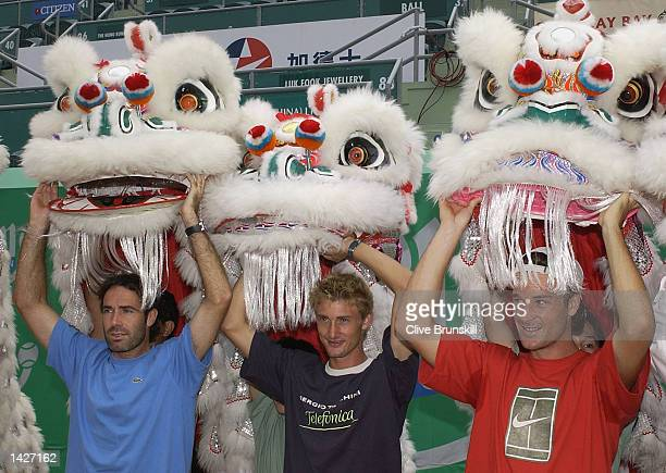 Spains Alex Corretja Juan Carlos Ferrero and Carlos Moya during the opening ceremony of the Salem Open at Victoria Park Hong Kong China on September...