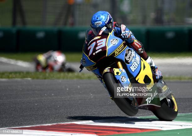 TOPSHOT Spain's Alex Marquez rides his Kalex on his way to win the Italian Moto2 category Grand Prix at the Mugello race track on June 2 2019 in...