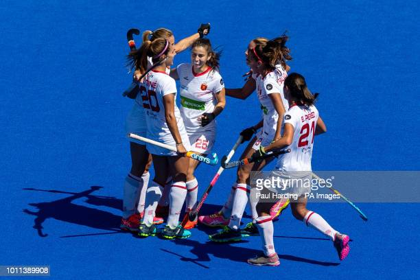 Spain's Alicia Magaz celebrates scoring their first goal during the Vitality Women's Hockey World Cup bronze medal match at The Lee Valley Hockey and...