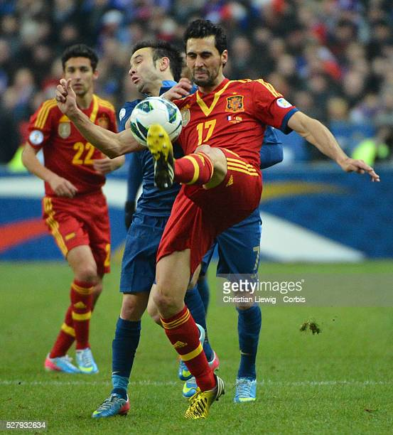 Spain,s Alvaro Arbeloa during the FIFA 2014 World Cup qualifying round group I soccer match, France Vs Spain at Stade de France in Saint-Denis suburb...