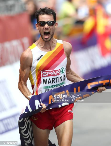 Spain's Alvaro Martin celebrates winning the Mens 20KM Race Walk during day five of the 2018 European Athletics Championships at the Olympic Stadium...
