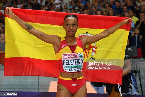 Spain's Ana Peleteiro celebrates after the women's Triple Jump final during the European Athletics Championships at the Olympic stadium in Berlin on...
