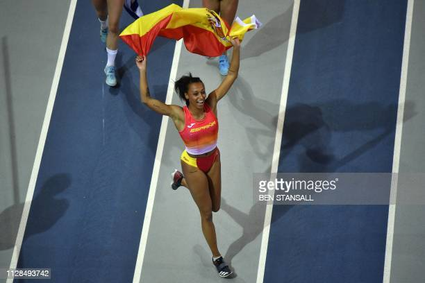 Spain's Ana Peleteiro celebrates after winning the womens triple jump final at the 2019 European Athletics Indoor Championships in Glasgow on March 3...